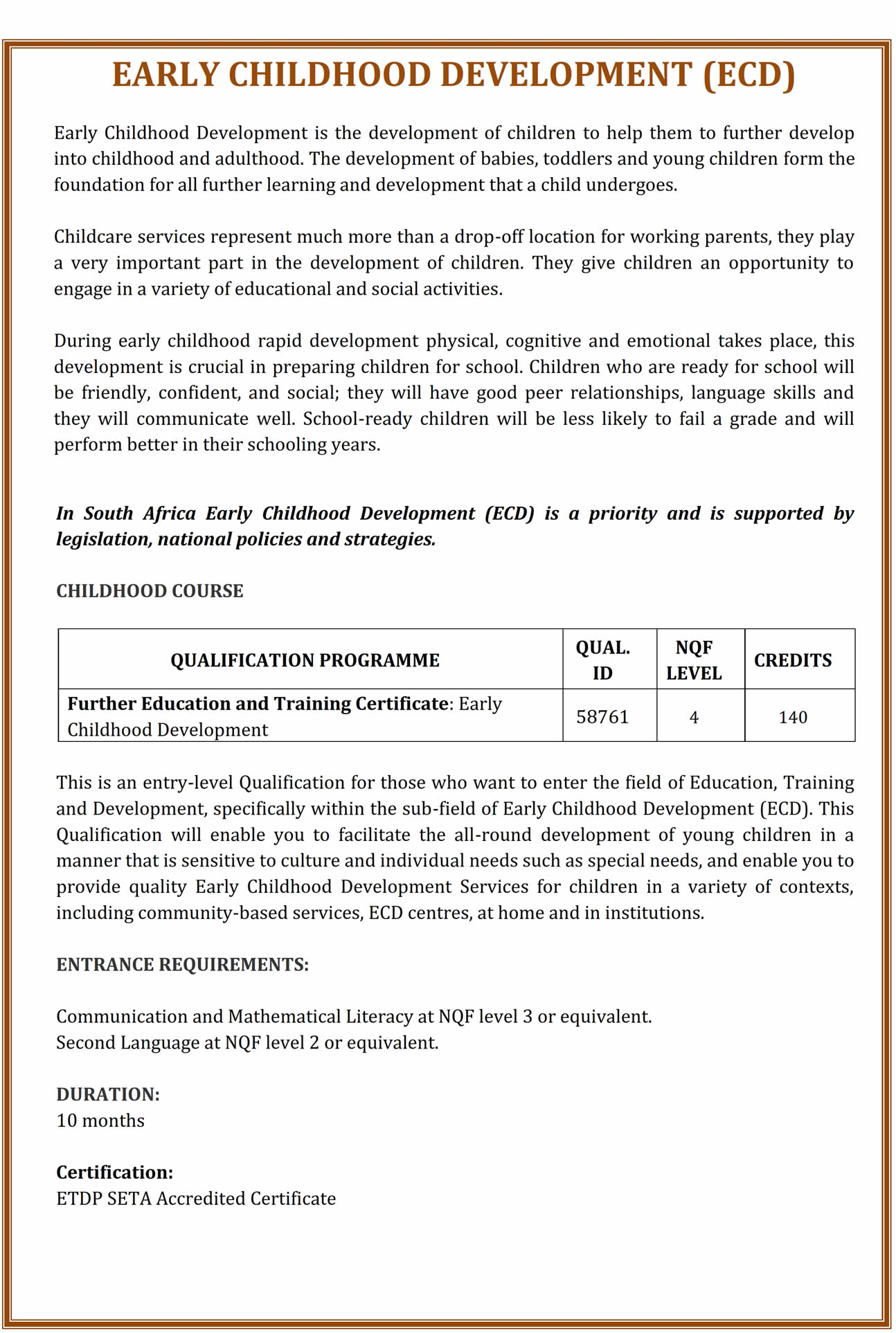 National Certificate Early Childhood Development